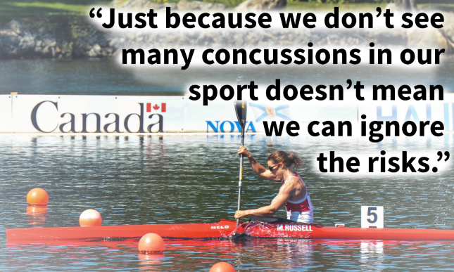 "Canoe Kayak athlete with the quote ""Just because we don't see many concussions in our sport doesn't mean we can ignore the risks"""