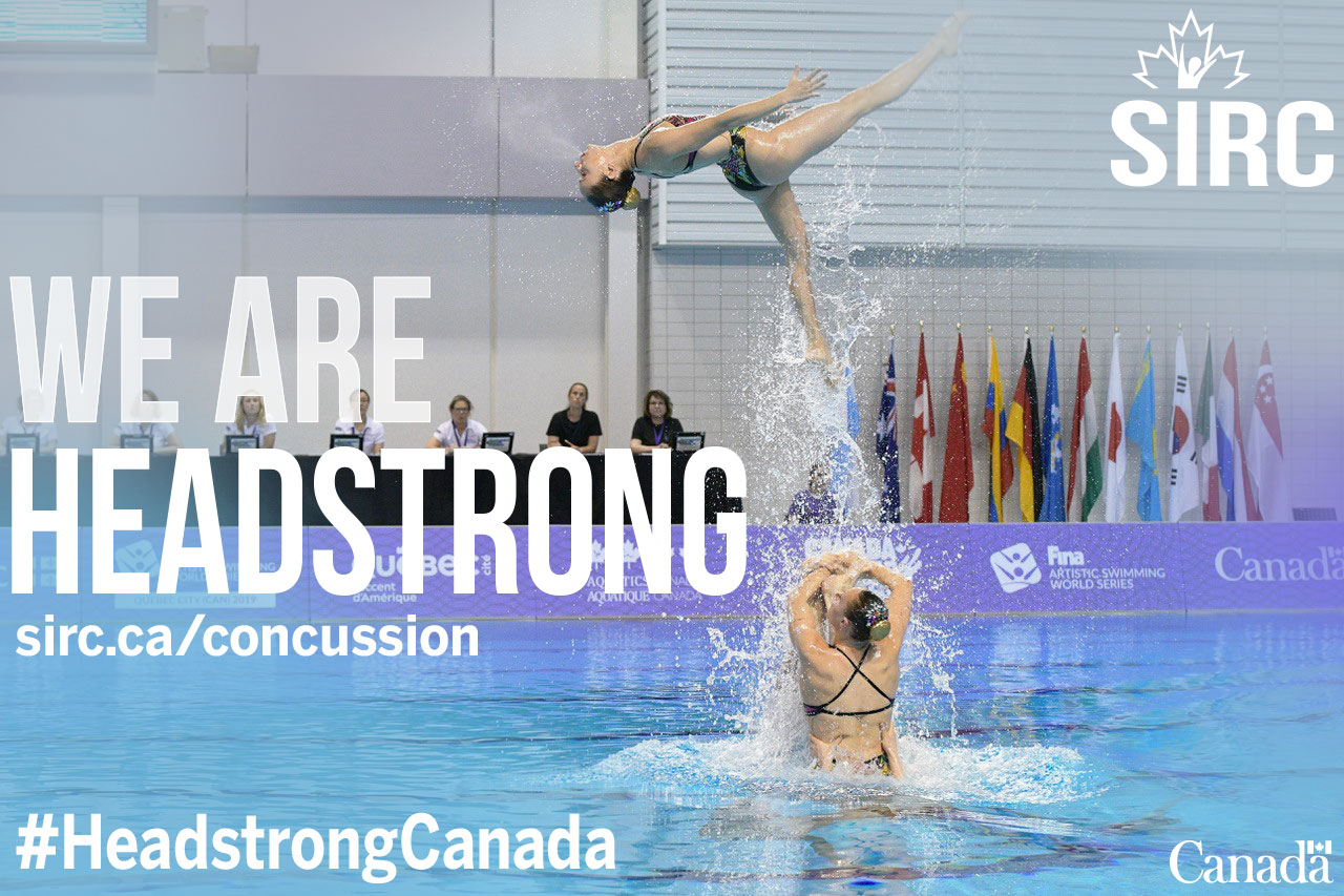 """Artistic swimmers in competition with the quote """"we are headstrong"""""""
