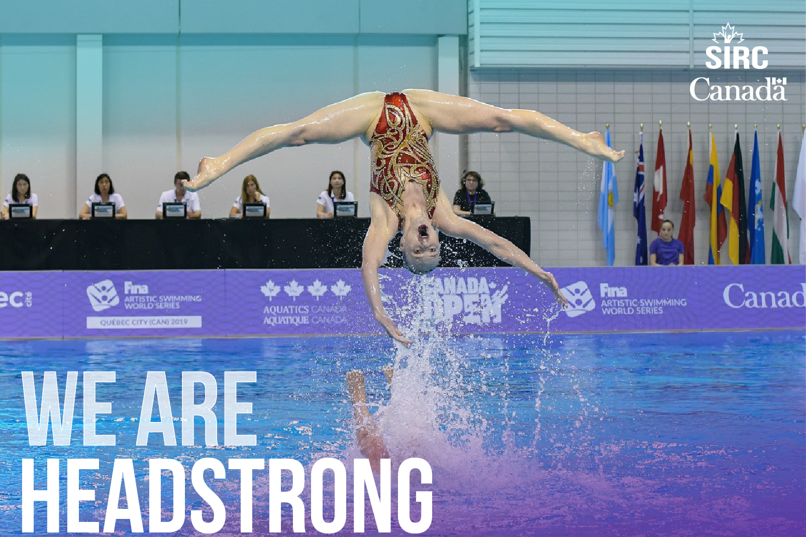 """Artistic swimmer in competition with the quote """"we are headstrong"""""""