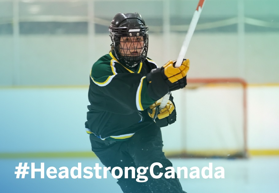 Female Ringette player with the hashtag Headstrong Canada