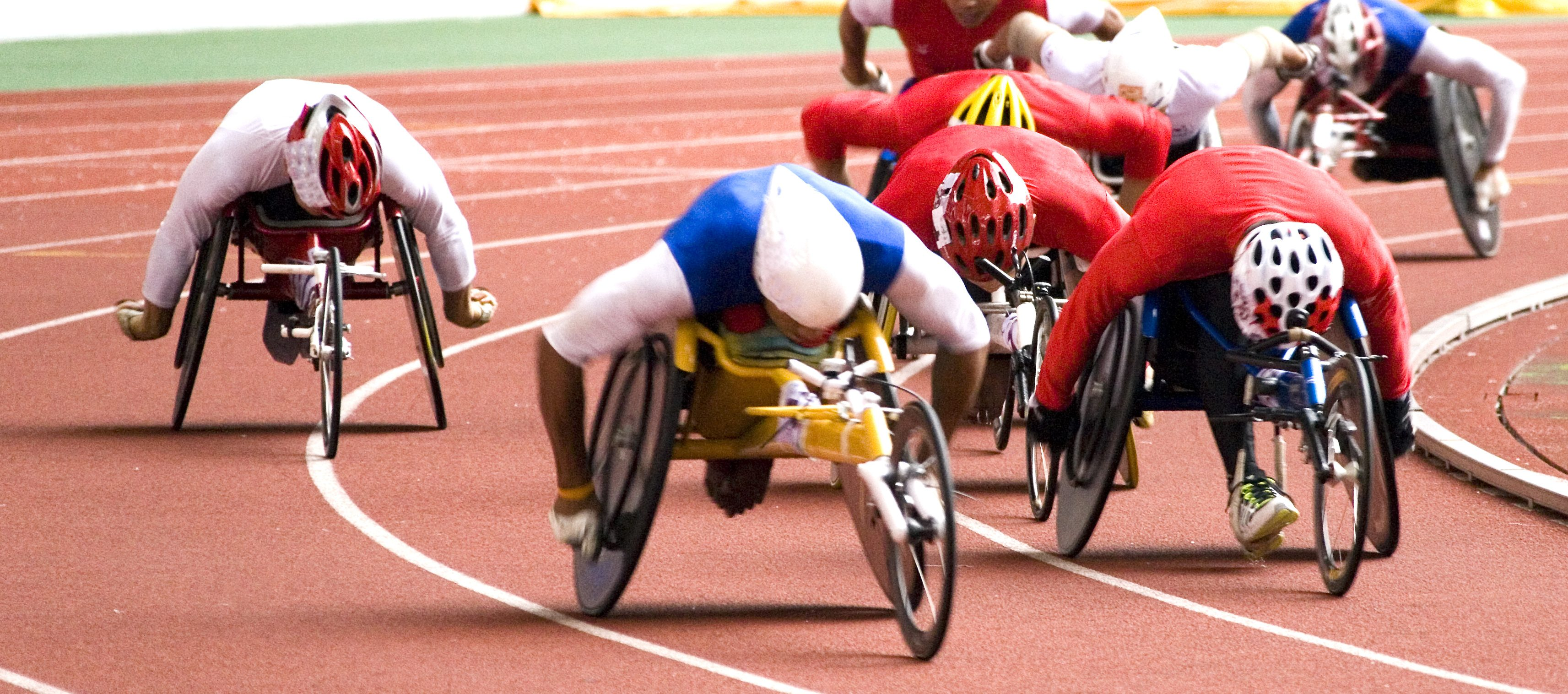 Athletes competing in a wheelchair racing event
