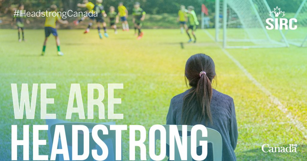 Soccer players, text reads we are headstrong