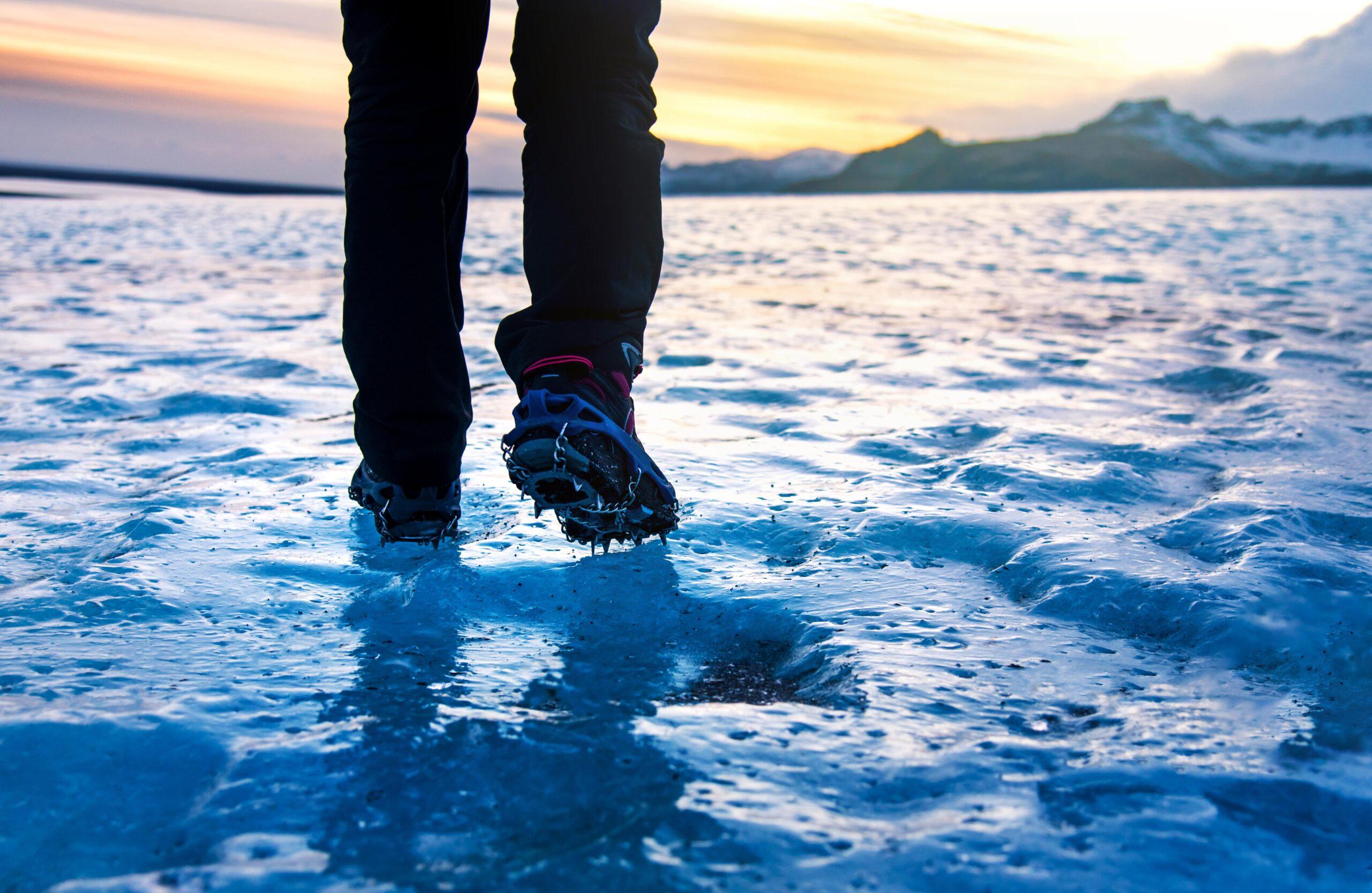 man walking on ice