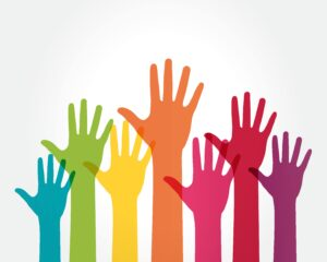 Colourful hands in air, solidarity theme