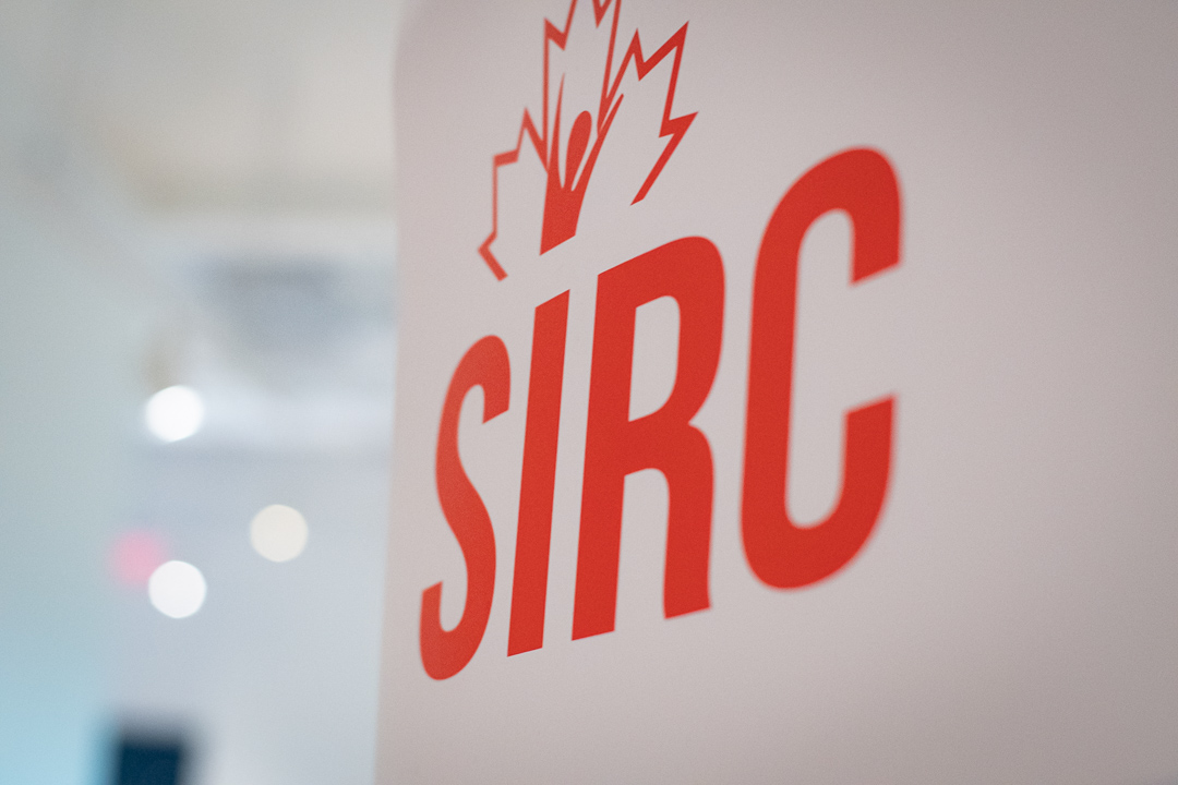 Banner of red SIRC logo on white background