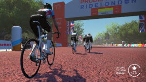 Cycling Canada virtual cyclists at finish line of race