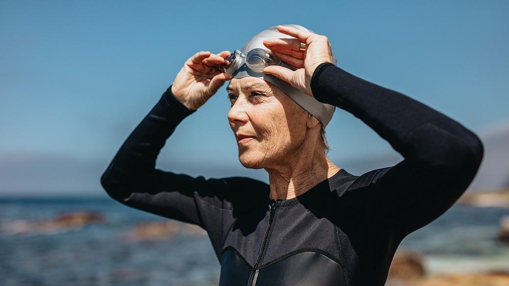 Close up of senior female swimming athlete