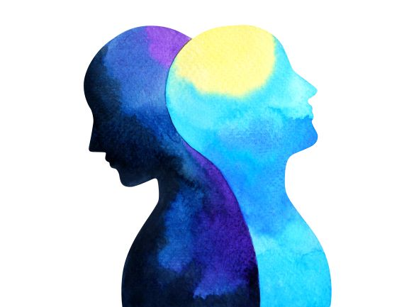 blue watercolor painting illustration displaying mental health, two minds