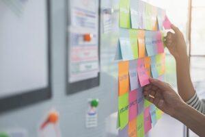 Using sticky notes, strategic planning