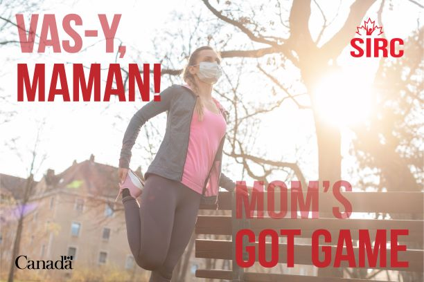 Moms Got Game poster with woman stretching before a run.