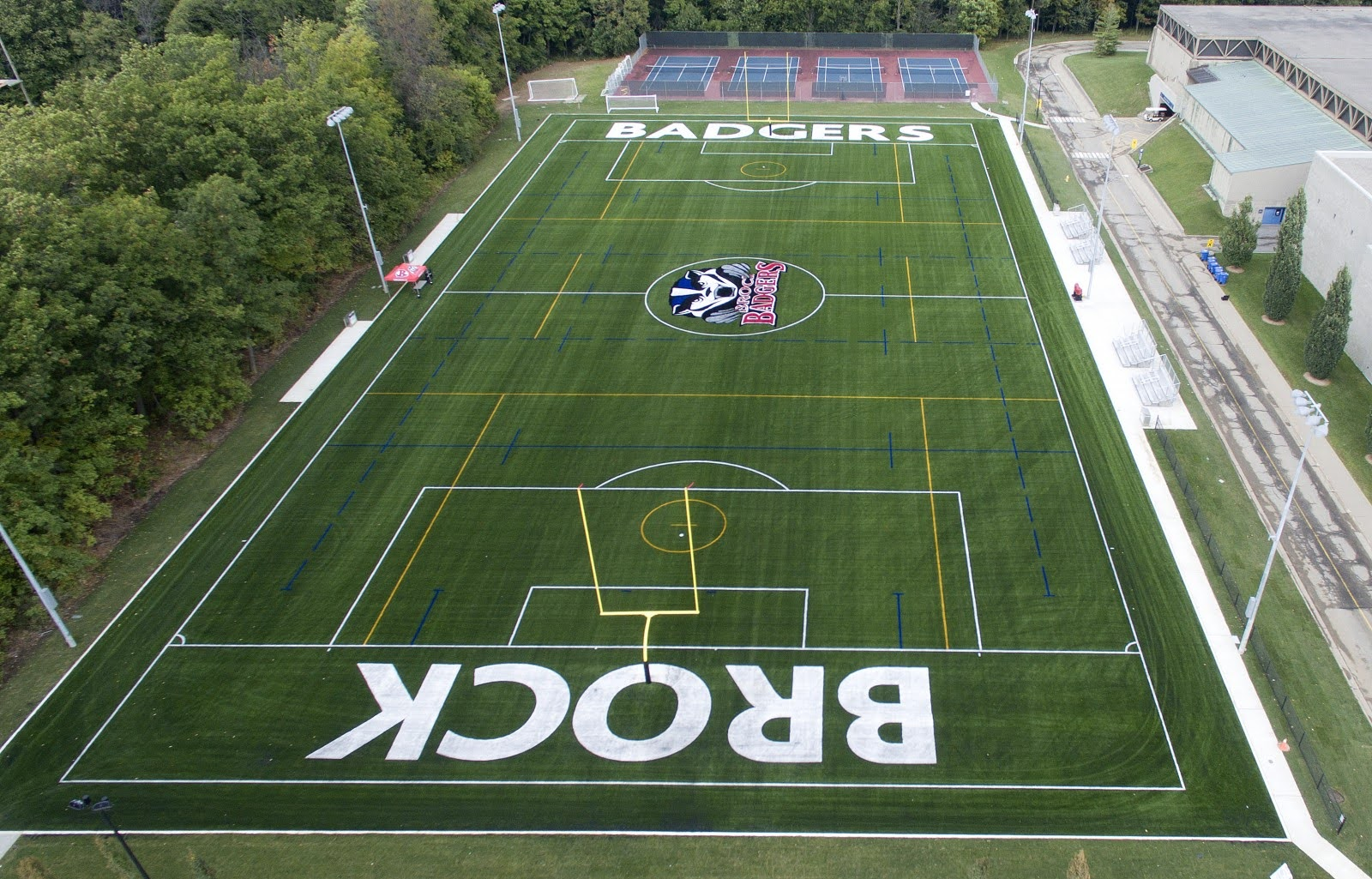 Ariel view of Brock University's soccer field.