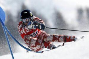 alpine ski racer in winter
