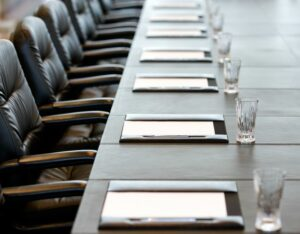 Empty boardroom chairs