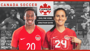 Canada Soccer athletes of the month headshots.
