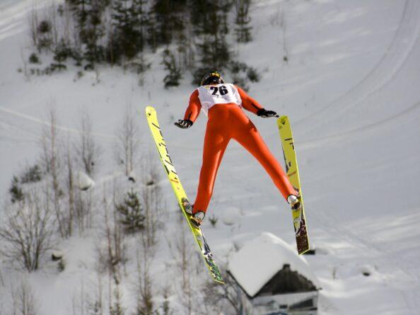 Ski jumper soars through the air