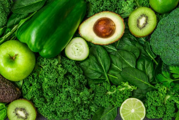 Plethora of green vegetables and fruits.