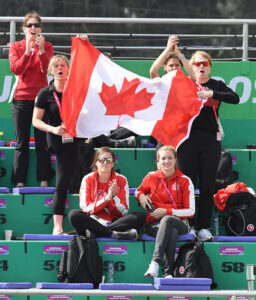 Canadian spectators cheer on Wheelchair Tennis athlete at Lima 2019 Olympic Games