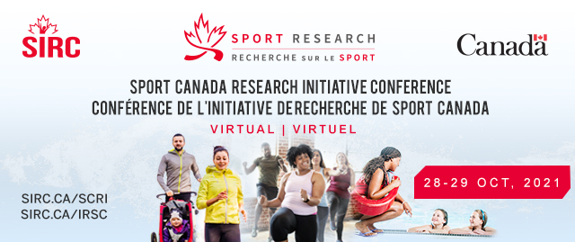 Photo of the Sport Canada Research Initiative Conference graphic with the event date listed as October 28 to 29, 2021.