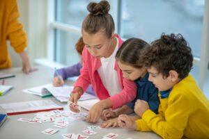 Children learning the alphabet while doing interesting tasks