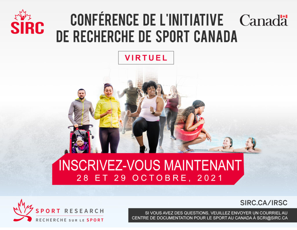 French graphic for the Sport Canada Research Initiative Conference on October 28 and 29 2021