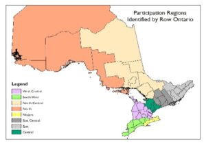 Map of participation regions identified by row canada.