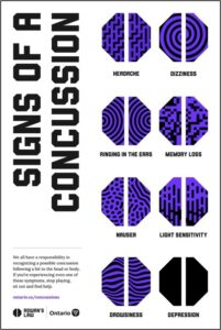 Signs of a concussion - headache - dizziness - ringing in the ears - memory loss - nausea - light sensitivity - drowsiness - depression We all have a responsibility in recognizing a possible concussion following a hit to the head or body. If you're experiencing even one of these symptoms, stop playing, sit out and find help. http://ontario.ca/concussions Source: Rowan's Law, the  Government of Ontario