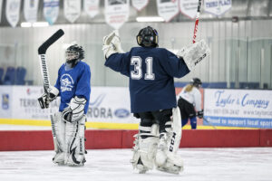 Youth goalies on the ice